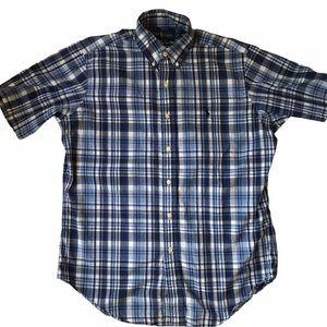 Ralph Lauren Blue Plaid Short Sleeve Casual Shirt